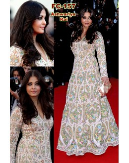 Bollywood Replica - Aishwarya Rai Designer White Pure Net Heavy Worked Party Wear Gown -FC157(MJ-FC-157)