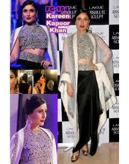 Bollywood Replica-Karishma Kapoor Designer Black & Off-White Heavy Worked Party Wear Dress-FC164(MJ-FC-157)