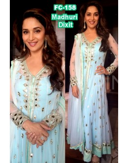 Bollywood Replica - Madhuri Dixit Designer Beautiful Sky Blue Party Wear Anarkali Suit -FC158(MJ-FC-157)