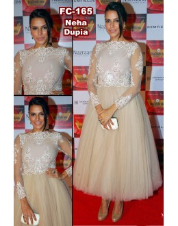 Bollywood Replica-Neha Dhupia Designer Light Chiku Color Soft Net Party Wear Gown-FC165(MJ-FC-157)