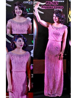 Bollywood Replica-Priyanka Chopra Designer Baby Pink Party Wear Dress- FC161 (MJ-FC-157)