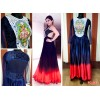 Bollywood Replica-Sunny Leone Designer Navy Blue & Tomato Red Satin Chiffon Party Wear Gown-FC166(MJ-FC-157)