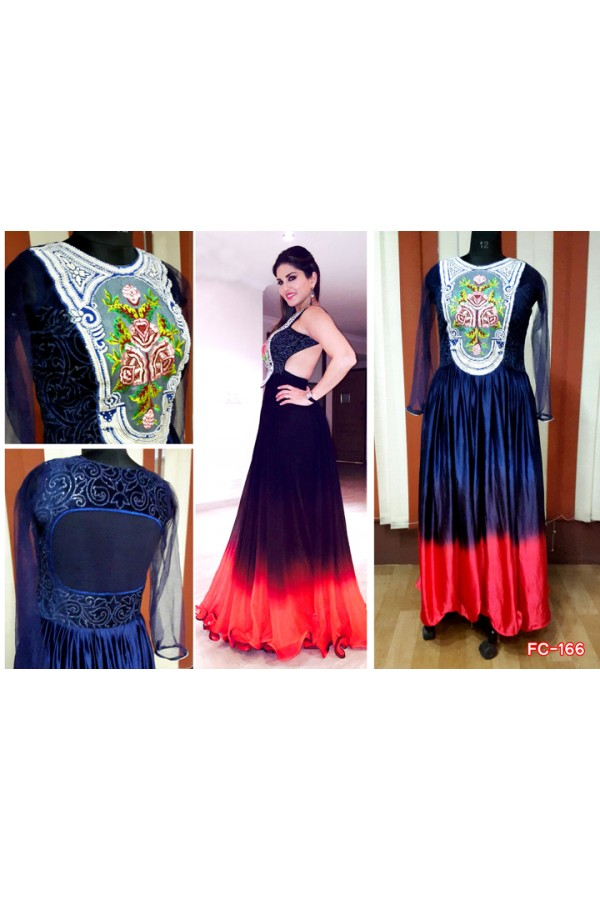 ab4267d2be9 Bollywood Replica-Sunny Leone Designer Navy Blue   Tomato Red Satin Chiffon Party  Wear Gown-FC166(MJ-FC-157)