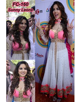 Bollywood Replica -Sunny Leone Designer Pure Round Net White Party Wear Anarkali Suit -FC160(MJ-FC-157)