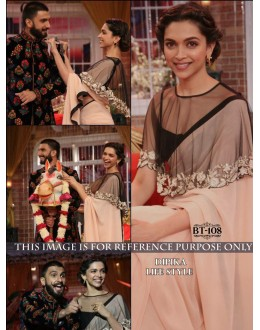 Bollywood Replica - Deepika Padukone Designer Light Peach Georgette Party Wear Saree - BT-108 ( MJ-BT )