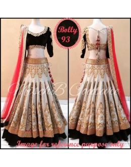 Bollywood Replica-Bridal Wear Designer Brocade & Velvet Embroidered Lehenga Choli - Bolly 93