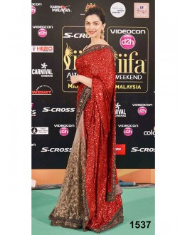 Bollywood Replica-Deepika Padukone Designer Glamorous Red & Cream Party Wear Saree-78( MJ-Bolly-78 )