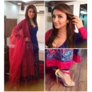Bollywood Replica-Parineeti Chopra Designer Blue Or Purple Embroidered Long Party Wear Anarkali Suit-50( MJ-Bolly-50 )