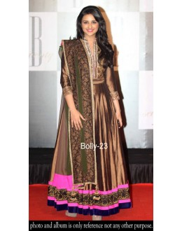 Bollywood Replica-Parineeti Chopra Designer Brown Embroidered Long Party Wear Anarkali Suit-23( MJ-Bolly-23 )