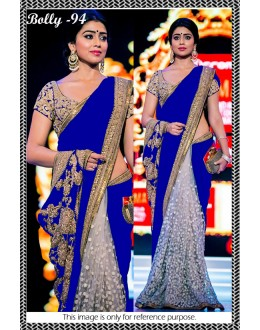 Bollywood Replica - Shriya Saran Designer Royal Blue Half & Half Party Wear Saree-94( SIA )