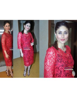 Bollywood Replica-Kareena Kapoor In Designer Red Net Brasso Party Wear Suit - A103 ( MJ-DC )
