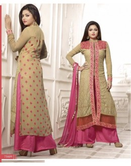 Designer Beige & Pink Embroidered Georgette Straight Fancy Party Wear Suit - A61 LT 75009 ( MJ-DC )