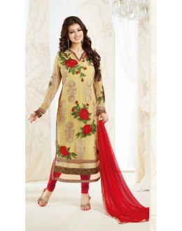 Designer Beige & Red Embroidered Georgette Party Wear Straight Salwar Suit - A74 ( MJ-DC )