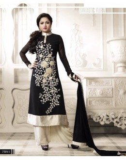 Designer Black Embroidered Georgette Fancy Party Wear Salwar Suit - A66 LT 75011 ( MJ-DC )