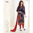 Designer Blue & Red Embroidered Georgette Party Wear Straight Salwar Suit - A75 ( MJ-DC )