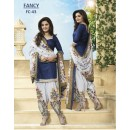 Designer Blue & White Cotton Printed Unstitched Party Wear Party Wear Patiala Suit - A72 ( MJ-DC )