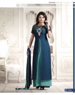 Designer Blue Embroidered Georgette Fancy Party Wear Plazzo Suit - A63 LT 75006 ( MJ-DC )