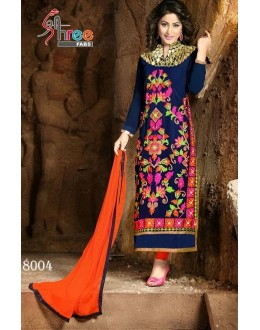 Designer Blue Embroidered Georgette Party Wear Straight Salwar Suit - A76 ( MJ-DC )
