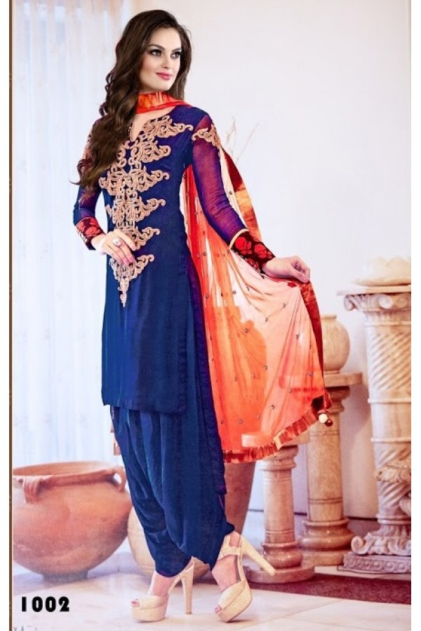 Designer Blue Georgette Embroidered Party Wear Patiala Suit - A16