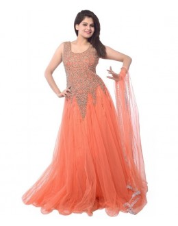 Designer Elegant Peach Embroidered Party Wear Gown - A70 ( MJ-DC )