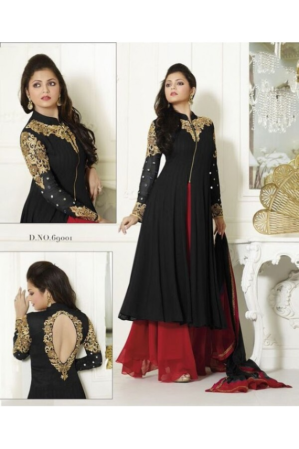 Designer Fancy Black Georgette Embroidered party Wear Palazzo Suit - A84 ( MJ-DC )