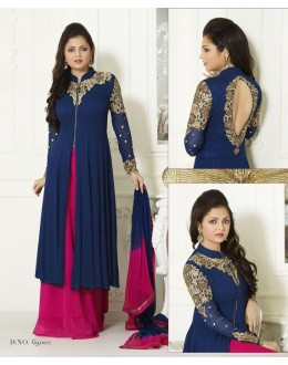 Designer Fancy Blue & Pink Georgette Embroidered party Wear Palazzo Suit - A85 ( MJ-DC )