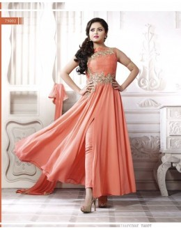 Designer Orange Embroidered Georgette Fancy Party Wear Salwar Suit - A64 LT 75002 ( MJ-DC )