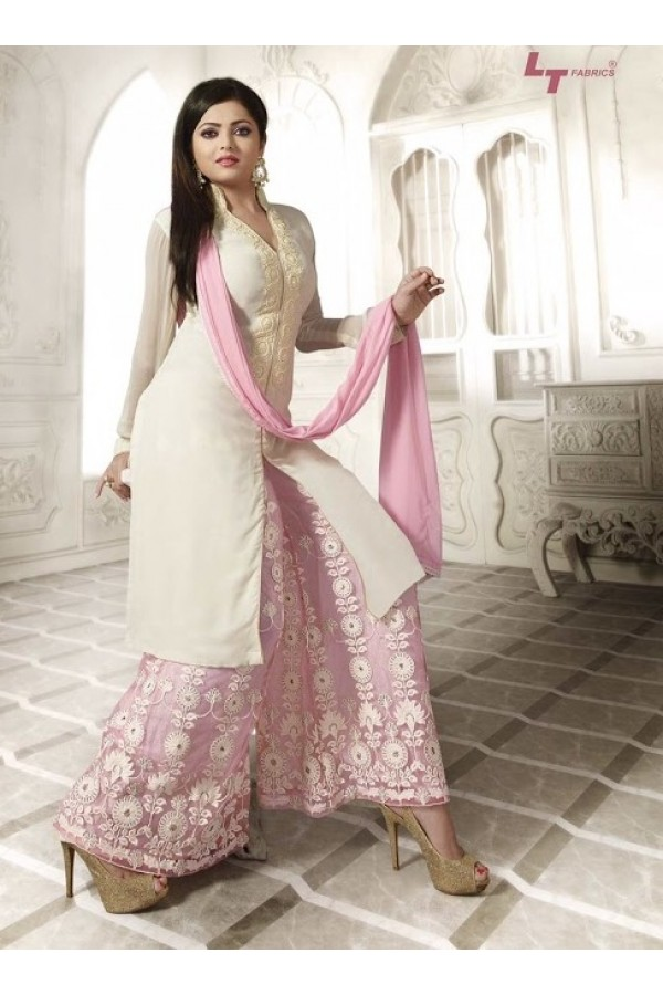 Designer Pink & Cream Embroidered Georgette Fancy Party Wear Plazzo Suit - A62 LT 75008 ( MJ-DC )