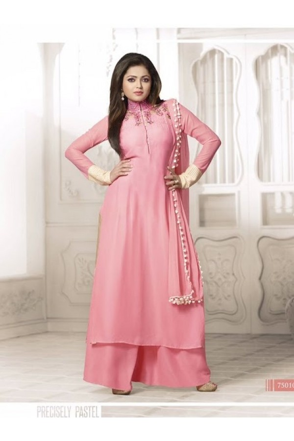 Designer Pink Embroidered Georgette Fancy Party Wear Palazzo Suit - A69 LT 75010 ( MJ-DC )
