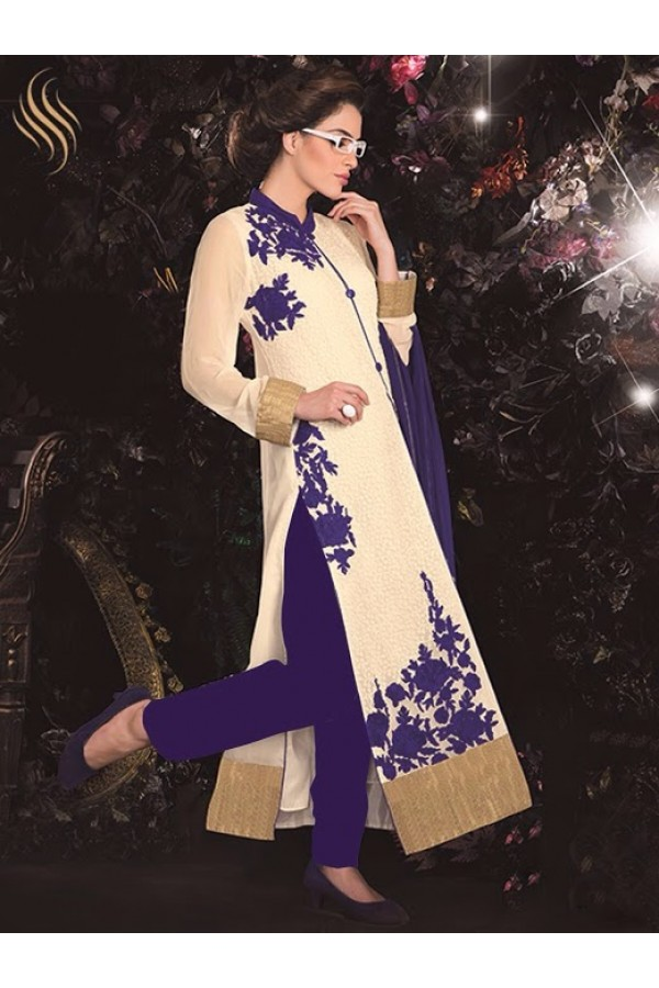 Designer White Embroidered Georgette Straight party Wear Salwar Suit - A92 ( MJ-DC )