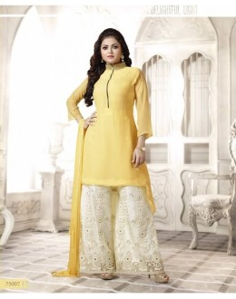 Designer Yellow & Cream Embroidered Georgette Fancy Party Wear Palazzo Suit - A68 LT 75007 ( MJ-DC )