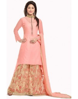 Heena Khan Designer Pink & Beige Georgette Embroidered Palazzo Suit - A77 ( MJ-DC )