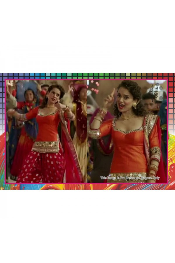 Kangna Designer Orange & Red Cotton Embroidered Party Wear Patiala Suit - A26 ( MJ-DC )