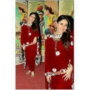 Kareena Kapoor Designer Red Georgette Embroidered Party Wear Patiala Suit - A19 ( MJ-DC )