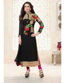 Karishma Kapoor Designer Black Embroidered Georgette Straight Long Party Wear Suit - A87 ( MJ-DC )