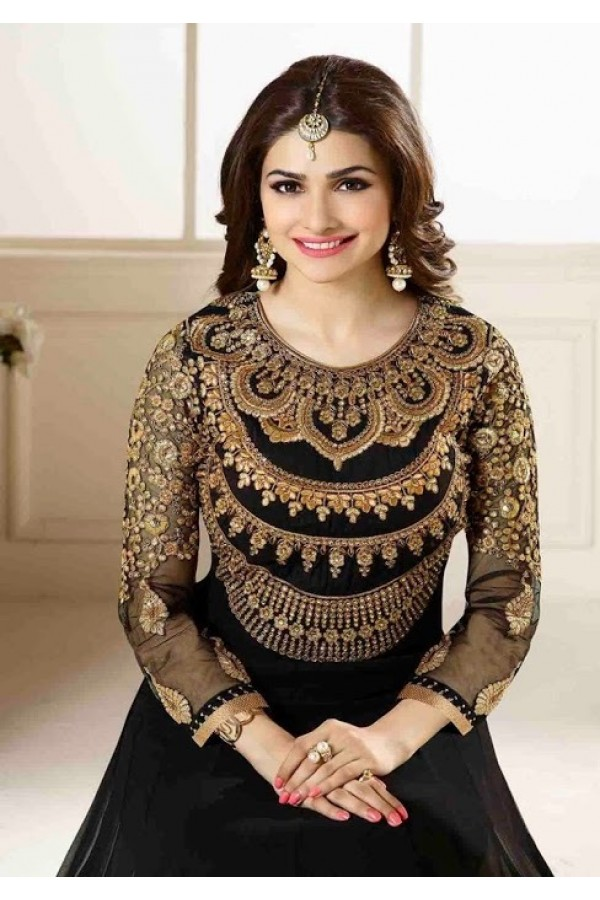 313e38ddb91 Prachi Desai Designer Black Embroidered Georgette Wedding Wear Anarkali Suit  - A46 ( MJ-DC )