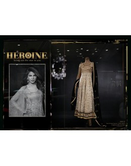 Priyanka Chopra Designer Beige , Black Georgette Net Embroidered Long Anarkali Suit - 5034 ( MJ-Heroine )