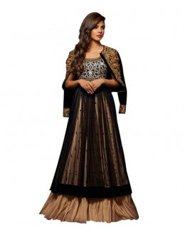 Priyanka Chopra Designer Black & Beige Georgette Net Embroidered Long Anarkali Suit - 5035 ( MJ-Heroine )