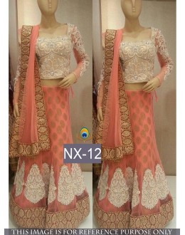 Bollywood Replica - Wedding Wear Peach Net Lehenga Choli - NX-12 ( MJ-NX )