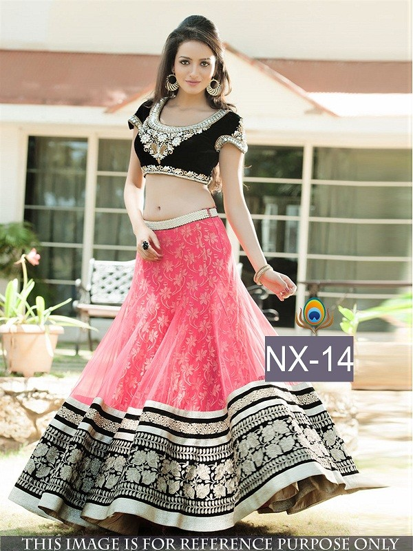 Bollywood Replica - Wedding Wear Pink & Black Net Lehenga Choli - NX-14 ( MJ-NX )