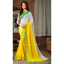 Designer Shaded White & Yellow Georgette Embroidery Party Wear Saree-1803(MJ-Varsiddhi)