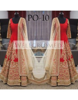 Bollywood Replica - Bridal Red Banglori Dhupian Gown -  PO-10