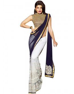 Designer Party Wear Jacqueline Fernandez Embroidered Georgette Bollywood Replica Blue & White Saree - 15225 ( ML - 881 )
