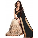 Designer Party Wear Tamanna Embroidered Net & Georgette Bollywood Replica Cream & Black Saree - 15216 ( ML - 881 )