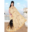 Designer Party Wear Embroidered Georgette Bollywood Replica Cream & Black Saree - 15237 ( ML - 882 )