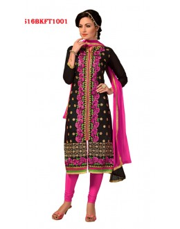 Festival Wear Black Chanderi Cotton Salwar Suit  - SS16BKFT1001