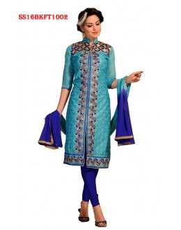 Party Wear Sky Blue Chanderi Cotton Salwar Suit  - SS16BKFT1002
