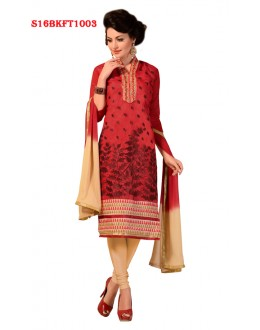 Ethnic Wear Red Chanderi Cotton Salwar Suit  - SS16BKFT1003