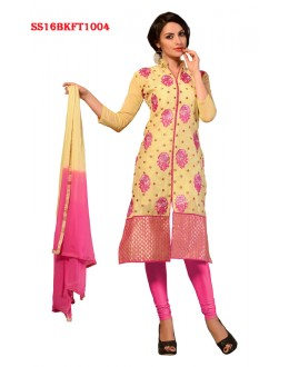 Party Wear Yellow Chanderi Cotton Salwar Suit  - SS16BKFT1004