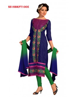 Office Wear Blue Chanderi Cotton Salwar Suit  - SS16BKFT1005
